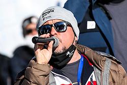 Bojan Makovec, official speaker, during parallel slalom FIS Snowboard Alpine World Championships 2021 on March 2nd 2021 on Rogla, Slovenia. Photo by Morgan Kristan / Sportida