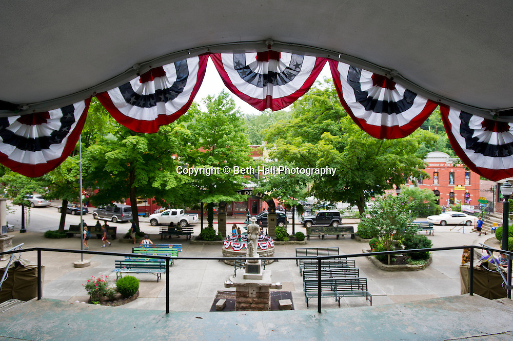 Stock photography of the stage at Basin Park in Eureka Springs, Arkansas.