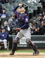 CHICAGO - APRIL 20:  Joe Mauer #7 of the MInnesota Twins catches against the Chicago White Sox on April 20, 2013 at U.S. Cellular Field in Chicago, Illinois.  The Twins defeated the White Sox 2-1 .  (Photo by Ron Vesely)   Subject:  Joe Mauer