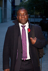 © Licensed to London News Pictures. 31/10/2012. LONDON, UK. Former UBS banker Kweku Adoboli leaves Southwark Crown Court in London today (31/10/12). Photo credit: Matt Cetti-Roberts/LNP