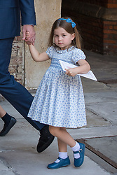 July 9, 2018 - London, London, United Kingdom - Image licensed to i-Images Picture Agency. 09/07/2018. London, United Kingdom. Princess Charlotte holding the hand of the Duke of Cambridge after attending Prince Louis's christening at the Chapel Royal, St James's Palace, London  (Credit Image: © Pool/i-Images via ZUMA Press)