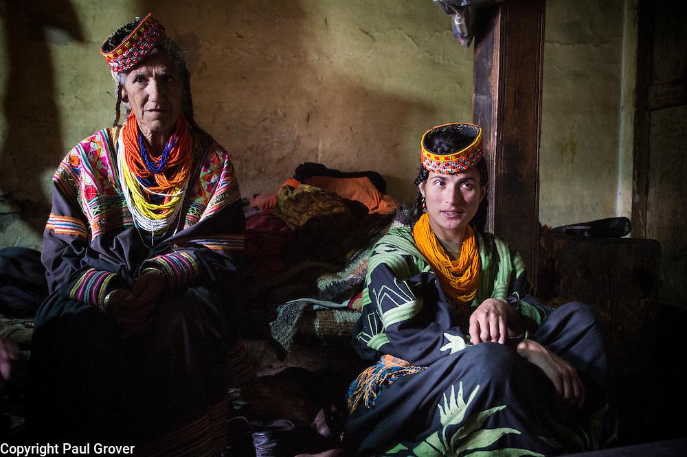 Bumburet, Chitral District,Pakistan.Pic Shows Kalash women in the Kalash village in the valley of Bumburet