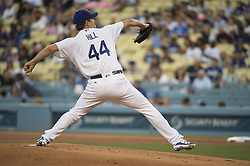 August 11, 2017 - Los Angeles, California, U.S - 11 Aug 2017. The Los Angeles Dodgers play the San Diego Padres in the first  game of a three-game series at Dodger Stadium. Pictured is Dodger Pitcher Rich Hill at the mound. (Credit Image: © Prensa Internacional via ZUMA Wire)