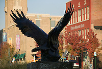 statue of eagle in front of President Bill Clinton gift shop on Clinton Avenue in Little Rock Arkansas