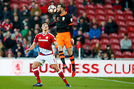 Sheffield Wednesday forward Steven Fletcher (6) heads the ball during the The FA Cup match between Middlesbrough and Sheffield Wednesday at the Riverside Stadium, Middlesbrough, England on 8 January 2017. Photo by Simon Davies.
