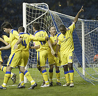 Photo: Aidan Ellis.<br /> Sheffield Wednesday v Cardiff City. Coca Cola Championship. 09/11/2005.<br /> Cardiff's Cameron Jerome salutes the travelling fans after scoring his first and teams second goal
