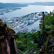 Three weeks aboard the Kong Harald. Hurtigruten, the Coastal Express. Bergen. Bergen from the top of Floybanen, the funicular.