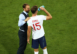 England manager Gareth Southgate (left) speaks with Gary Cahill during the FIFA World Cup Group G match at Kaliningrad Stadium. PRESS ASSOCIATION Photo. Picture date: Thursday June 28, 2018. See PA story WORLDCUP England. Photo credit should read: Tim Goode/PA Wire. RESTRICTIONS: Editorial use only. No commercial use. No use with any unofficial 3rd party logos. No manipulation of images. No video emulation