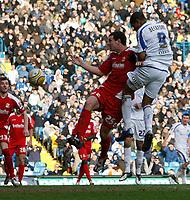 Photo: Steve Bond/Richard Lane Photography. Leeds United v Swindon Town. Coca Cola League One. 14/03/2009. Jermaine Beckford (R) scores. rising above Sean Morrison
