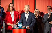 German Minister of Finance and SPD Chancellor candidate Olaf Scholz (C) during an elections campaign event in Berlin, Germany, September 03, 2021. The German Federal elections are scheduled to take place on September 26, 2021.