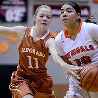 012415       Cable Hoover<br /> <br /> Gallup Bengal Deerae Torrez (10) pushes through a block from Eldorado Eagle Ashley Reinert (11) Saturday at Gallup High School.