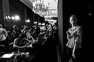A model wait for preparing prior a show during the Spring/Summer 2012 women's ready-to-wear fashion collection show at the Paris Fashion week, in Paris, France, 04 October 2011. The fashion week runs from 27 September to 05 October.