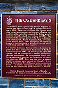 Historic interpretive plaque at Cave and Basin National Historic Site, Banff National Park, Alberta, Canada