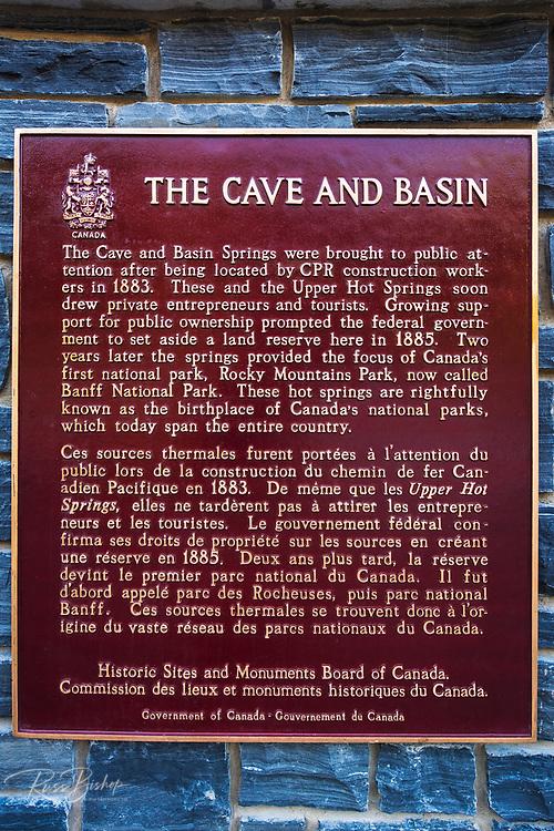 Historic interpretive plaque at Cave and Basin National Historic Site, Banff National Park, Alberta, Canada