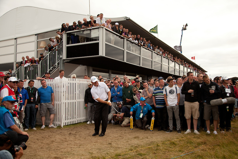 LYTHAM ST. ANNES, ENGLAND - JULY 22:  Ernie Els plays a pitch shot during the final round of the 141st Open Championship at Royal Lytham St Annes Golf Club in in Lytham St. Annes, England on July 22, 2012. (Photograph ©2012 Darren Carroll) *** Local Caption *** Ernie Els