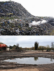 © Licensed to London News Pictures.18/11/2017.<br /> Orpington, UK. This combination image shows (top from March 2016) the rubbish pile at the infamous Waste4fuel  site in Orpington and (lower) from today nearly cleared of waste. It is due to be totally clear of waste on Monday. Work began to clear the site from 27.000 tons of waste a year ago at Cornwall Drive, Now the site has about 27 tons of rubbish left to clear. Altogether the clearance cost of the waste mountain has come to around £4.5 million with most of the money coming from government and the Enviroment Agency.<br /> Photo credit: Grant Falvey/LNP