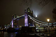 London's tallest skyscraper, the Shard, beams out spotlights behind Tower Bridge as part of a light show creating a public art installation in the sky on 13th December 2016 in London, England, United Kingdom. (photo by Mike Kemp/In Pictures via Getty Images)