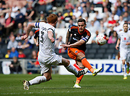 Billy Sharp of Sheffield Utd attempts a snap shot during the English League One match at  Stadium MK, Milton Keynes. Picture date: April 22nd 2017. Pic credit should read: Simon Bellis/Sportimage