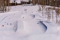 Snowmass Terrain Park, Snowmass/Aspen ski resort, Snowmass Village (Aspen), Colorado USA.