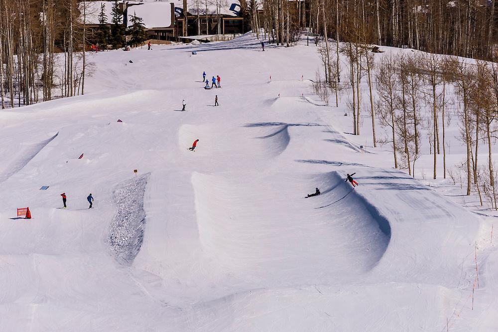 Snowmass Terrain Park, Snowmass/Aspen ski resort, Snowmass Village (Aspen), Colorado USA.