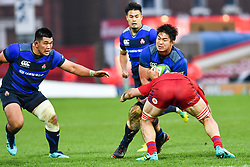 Kazuki Himeno of Japan is tackled by Nikita Vavilin of Russia <br /> <br /> Photographer Craig Thomas<br /> <br /> Japan v Russia<br /> <br /> World Copyright ©  2018 Replay images. All rights reserved. 15 Foundry Road, Risca, Newport, NP11 6AL - Tel: +44 (0) 7557115724 - craig@replayimages.co.uk - www.replayimages.co.uk