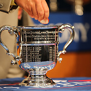 David A. Haggerty, First Vice President, makes the draw at the 2013 US Open draw ceremony. Flushing. New York, USA. 22nd August 2013. Photo Tim Clayton