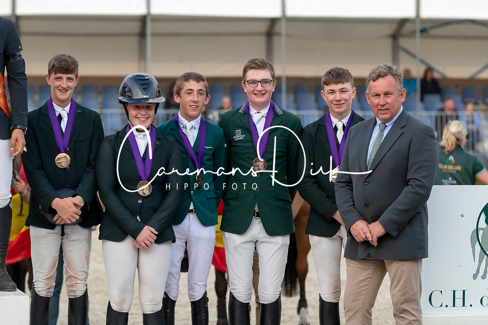 Team Ireland, Allen Harry, Derwin Kate, Hughes Kennedy Seamus, Nallon Ciaran, Ryan Jack<br /> European Jumping Championship Children<br /> Zuidwolde 2019<br /> © Hippo Foto - Dirk Caremans<br /> Team Ireland, Allen Harry, Derwin Kate, Hughes Kennedy Seamus, Nallon Ciaran, Ryan Jack