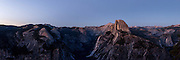 Half Dome at twilight in Yosemite National Park. Large format, hi-res panorama