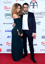 Shenae Grace (left) and Liam Blackwell attending the 8th Annual Asian Awards held at the Hilton Hotel, Park Lane, London.