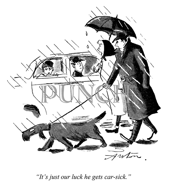 """Dog Days. """"It's just our luck he gets car-sick."""""""