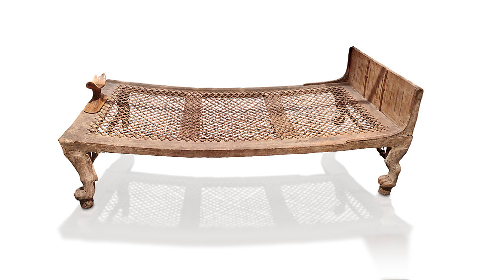 """Ancient Egyptian bed delonging to Kha , tomb of Kha, Theban Tomb 8 , mid-18th dynasty (1550 to 1292 BC), Turin Egyptian Museum. <br /> <br /> According to excavator Shciaparelli """" the beds were found in Kcha's tomb also. The larger one, his own, was found in the antechamber."""" Egyptians believed that in the Afterlife they would require the same comforts as they enjoyed in life so beds and many other worldly requirements were put into their tombs. .<br /> <br /> If you prefer to buy from our ALAMY PHOTO LIBRARY  Collection visit : https://www.alamy.com/portfolio/paul-williams-funkystock/ancient-egyptian-art-artefacts.html  . Type -   Turin   - into the LOWER SEARCH WITHIN GALLERY box. Refine search by adding background colour, subject etc<br /> <br /> Visit our ANCIENT WORLD PHOTO COLLECTIONS for more photos to download or buy as wall art prints https://funkystock.photoshelter.com/gallery-collection/Ancient-World-Art-Antiquities-Historic-Sites-Pictures-Images-of/C00006u26yqSkDOM"""