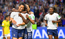 France's Valerie Gauvin celebrates with teammates during FIFA Women's World Cup France group A match France v Brazil on June 23, 2019 in Le Havre, France. France won 2-1 after extra time reaching quarter-finals. Photo by Christian Liewig/ABACAPRESS.COM