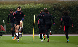 Arsenal's Laurent Koscielny (front left) during the training session at London Colney, Hertfordshire.