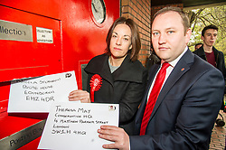 Pictured: Kezia Dugdale was on hand to lend backing to ian Murray's campaign.<br /> <br /> Scottish Labour's Ian Murray and Scottish Labour leader Kezia Dugdale hit the general election campaign trail in Edinburgh today for the first campaign event of Mr Murray's re-election campaign for the Edinburgh South constituency.<br /> Ger Harley   EEm 21 April 2017