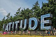 The shiny Latitude sign - The 2016 Latitude Festival, Henham Park, Suffolk.