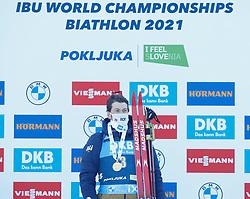 Sturla Holm Laegreid of Norway celebrates at medal ceremony during the IBU World Championships Biathlon 15 km Mass start Men competition on February 21, 2021 in Pokljuka, Slovenia. Photo by Vid Ponikvar / Sportida
