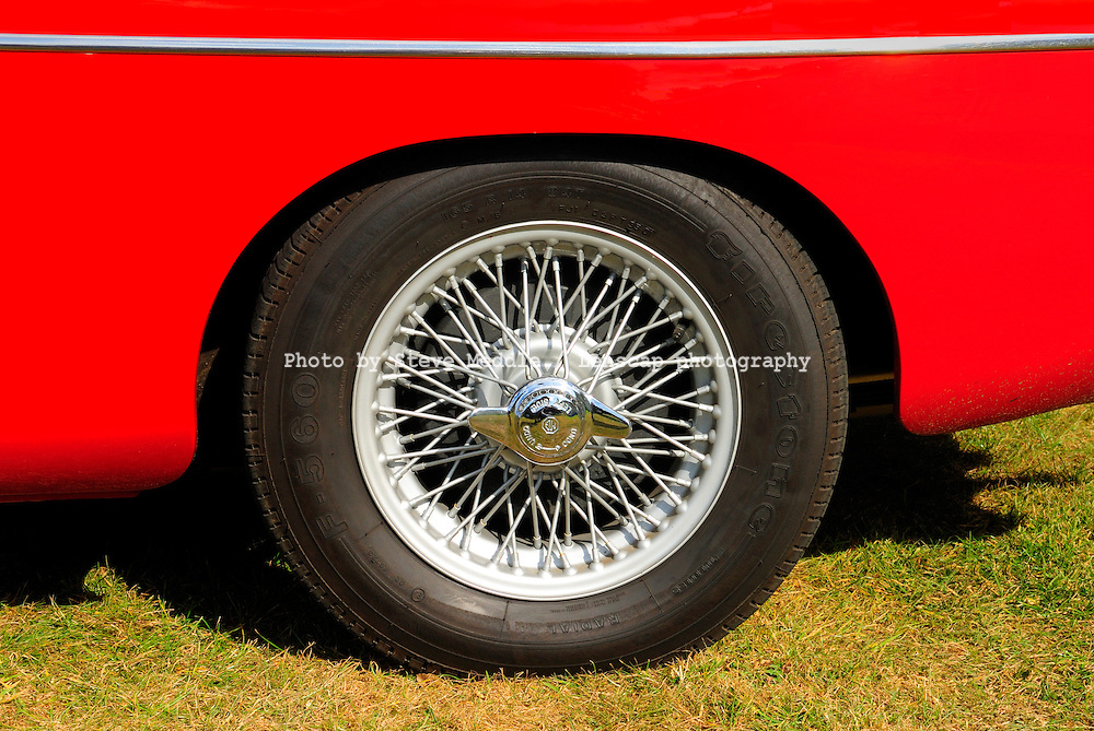 Close-up of a Chrome Spoked Wire Wheel, MG MGB Sports Car - August 2009