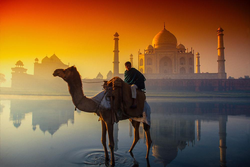 Yamuna River and the Taj Mahal, Agra, India