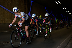 Eugenia Bujak (BTC City Ljubljana) emerges from the tunnel at Ronde van Drenthe 2017. A 152 km road race on March 11th 2017, starting and finishing in Hoogeveen, Netherlands. (Photo by Sean Robinson/Velofocus)