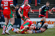 Bradford Bulls second row Matt Garside (11) drops the ball on the try line during the Betfred League 1 match between Keighley Cougars and Bradford Bulls at Cougar Park, Keighley, United Kingdom on 11 March 2018. Picture by Simon Davies.