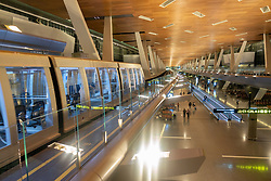 Interior of modern Hamad International Airport in Doha, Qatar