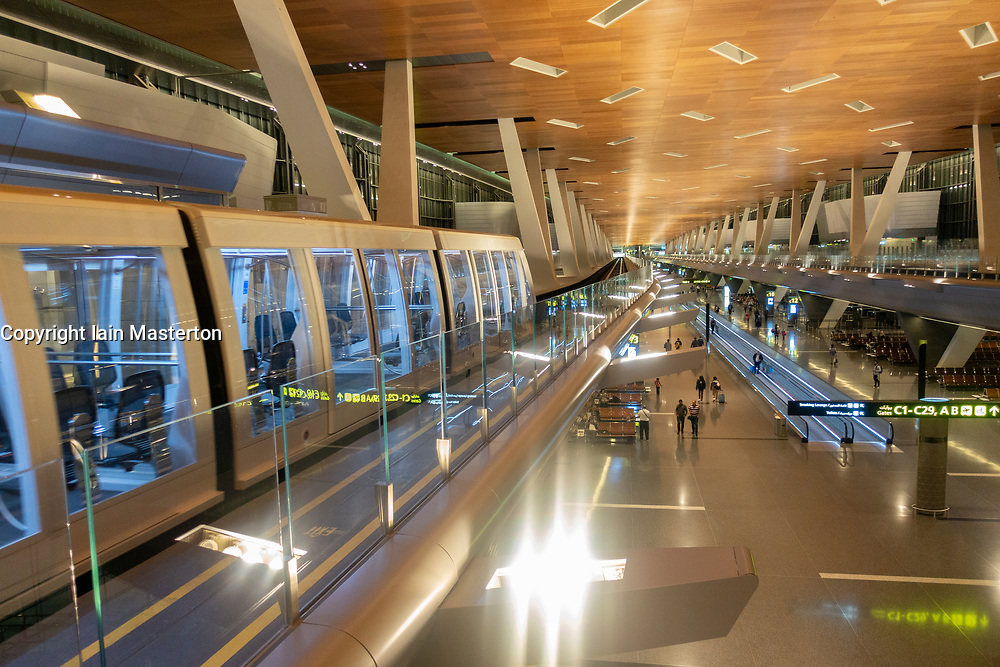 Interior of modern Hamad International Airport in Doha, Qatar