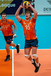 12-06-2019 NED: Golden League Netherlands - Estonia, Hoogeveen<br /> Fifth match poule B - The Netherlands win 3-0 from Estonia in the series of the group stage in the Golden European League / Gijs van Solkema #15 of Netherlands