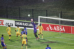 13052018 (Durban) Arrows goalkeeper Nkosingiphile Gumede catch a ball during Maritzburg United drew 1-1 with Lamontville Golden Arrows in an Absa Premiership match at the Harry Gwala Stadium in Pietermaritzburg on Saturday afternoon.<br /> Picture: Motshwari Mofokeng/African News Agency/ANA