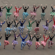 Piping Live! and East meets West -themed Royal Edinburgh Military Tattoo in George Square Glasgow. The Tattoo Highland Dancers take the floor. Picture Robert Perry 11th Aug 2015<br /> <br /> Must credit photo to Robert Perry<br /> FEE PAYABLE FOR REPRO USE<br /> FEE PAYABLE FOR ALL INTERNET USE<br /> www.robertperry.co.uk<br /> NB -This image is not to be distributed without the prior consent of the copyright holder.<br /> in using this image you agree to abide by terms and conditions as stated in this caption.<br /> All monies payable to Robert Perry<br /> <br /> (PLEASE DO NOT REMOVE THIS CAPTION)<br /> This image is intended for Editorial use (e.g. news). Any commercial or promotional use requires additional clearance. <br /> Copyright 2014 All rights protected.<br /> first use only<br /> contact details<br /> Robert Perry     <br /> 07702 631 477<br /> robertperryphotos@gmail.com<br /> no internet usage without prior consent.         <br /> Robert Perry reserves the right to pursue unauthorised use of this image . If you violate my intellectual property you may be liable for  damages, loss of income, and profits you derive from the use of this image.