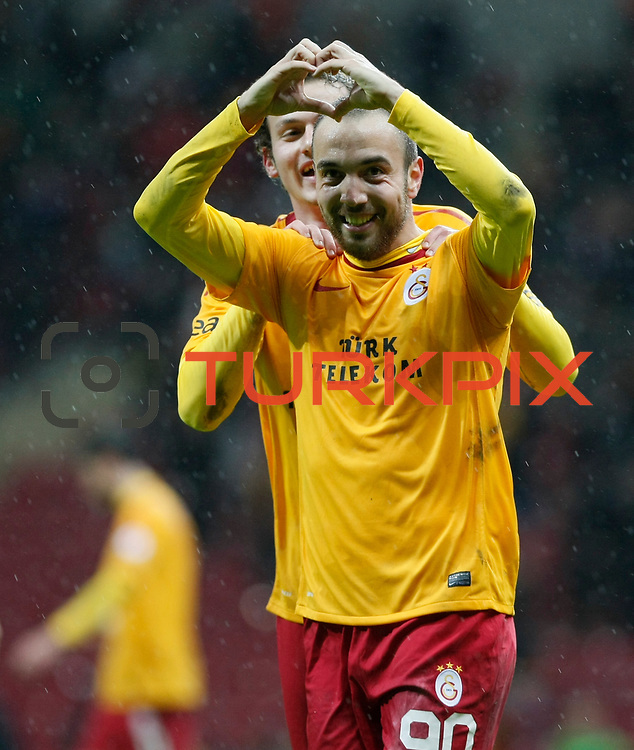 Galatasaray's Sercan Yildirim (F) celebrate his goal during their Turkey Cup matchday 3 soccer match Galatasaray between AdanaDemirspor at the Turk Telekom Arena at Aslantepe in Istanbul Turkey on Tuesday 10 January 2012. Photo by TURKPIX