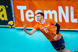 Michael Parkinson of Netherlands in action during the CEV Eurovolley 2021 Qualifiers between Sweden and Netherlands at Topsporthall Omnisport on May 14, 2021 in Apeldoorn, Netherlands