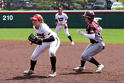 22 April 2017:  Allison Spence tends 1st base keeping the runner close during a Missouri Valley Conference (MVC) women's softball game between the Missouri State Bears and the Illinois State Redbirds on Marian Kneer Field in Normal IL