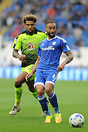 Cardiff's Jazz Richards (blue) is challenged by Reading's Danny Williams. EFL Skybet championship match, Cardiff city v Reading at the Cardiff city stadium in Cardiff, South Wales on Saturday 27th August 2016.<br /> pic by Carl Robertson, Andrew Orchard sports photography.