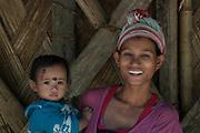 Nyshi woman & child<br /> Nyshi Tribe<br /> Arunachal Pradesh<br /> North East India